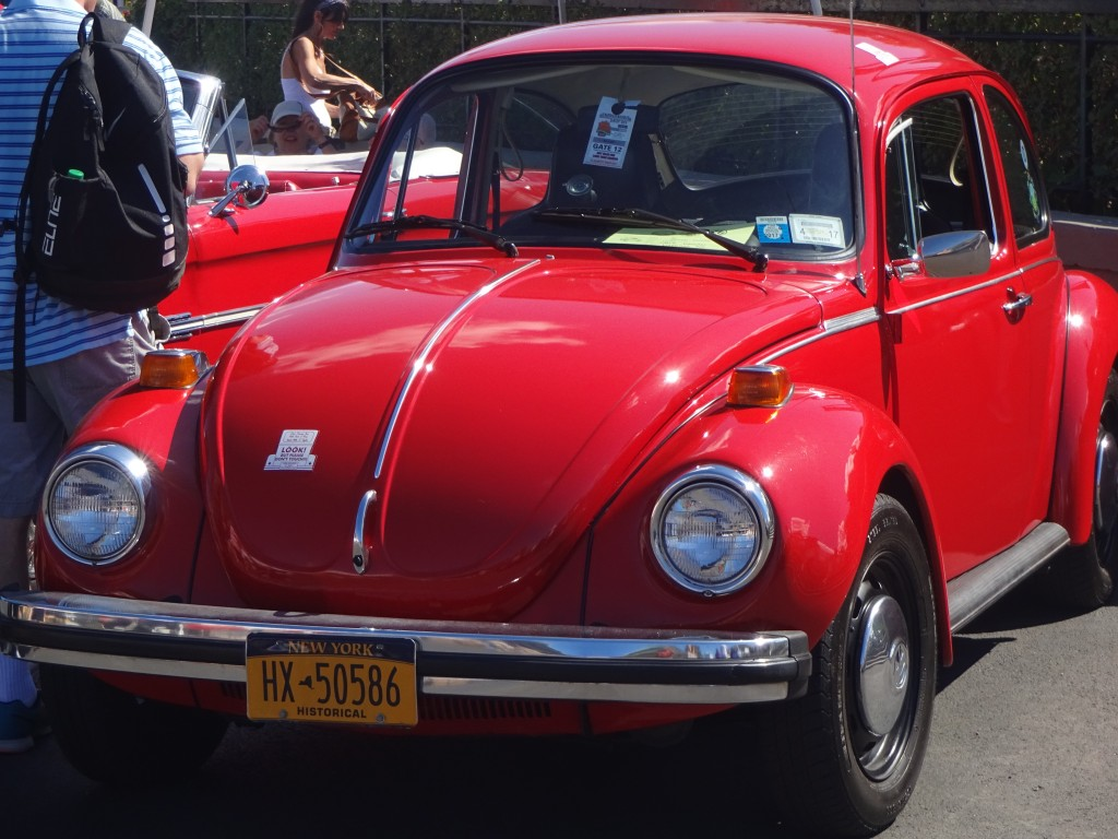 A mini car show featured this vintage Beetle.