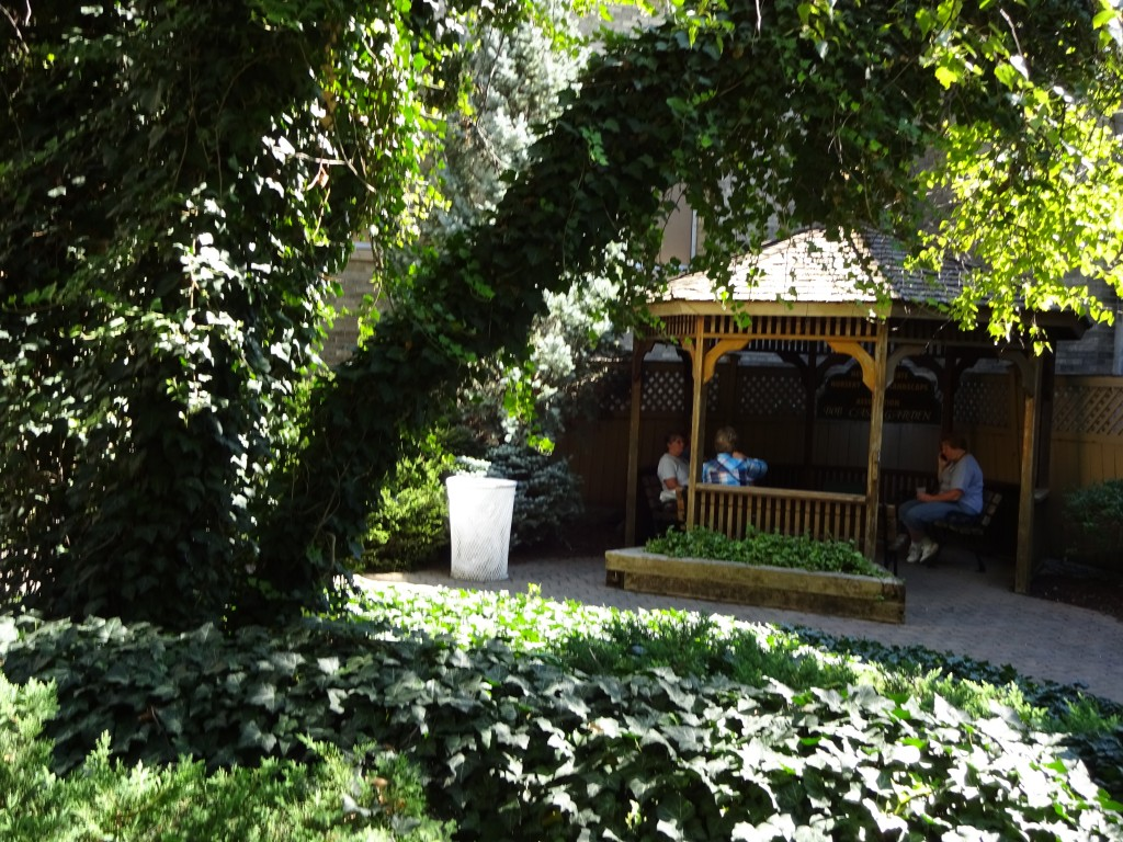 This gazebo is in the courtyard accessible from the Horticulture Building.