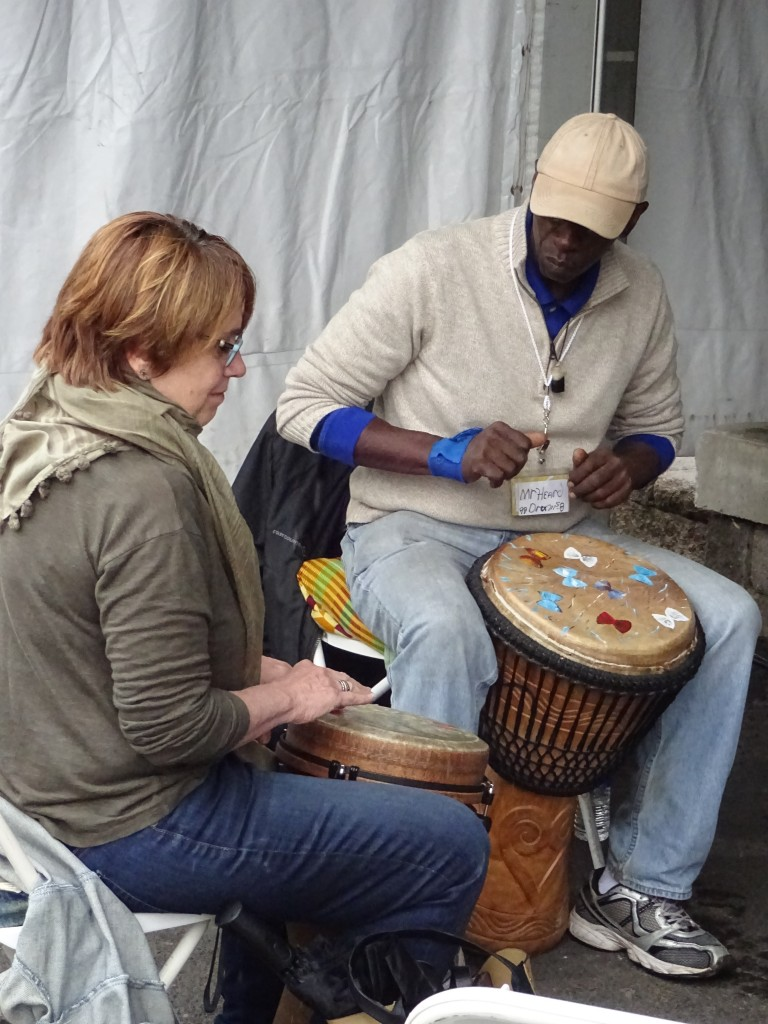 John Heard gave drumming lessons to visitors.