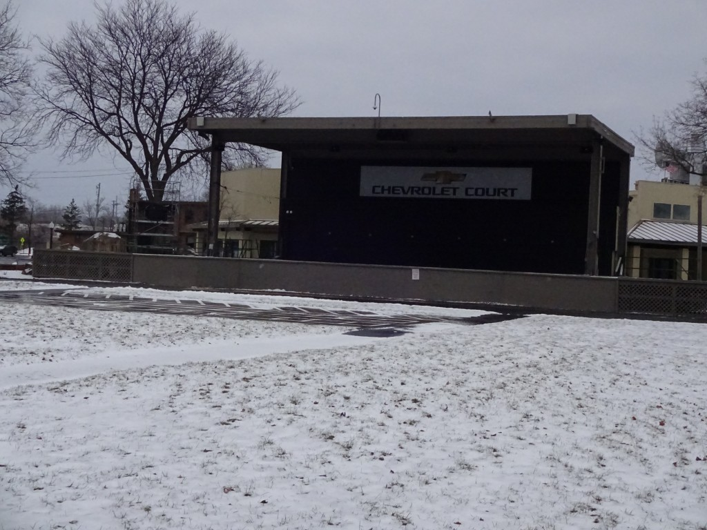 A winter weekend visit to the new York State Fairgrounds revealed snowy, deserted Chevrolet Court. In just over six months, sun-warmed benches and passionate fans will fill this space.